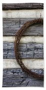 Log Cabin And Barbed Wire Beach Towel