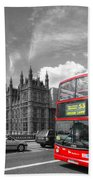 London Big Ben And Red Bus Beach Towel