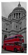 London Bus At St. Paul's Beach Towel