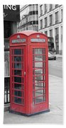 London Phone Box Beach Towel