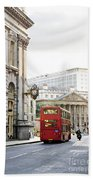 London Street With View Of Royal Exchange Building Beach Towel