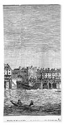 London: Waterfront, 1750. /nlondon Bridge And Dyers Wharf. Wood Engraving After A Painting By S. Scott, C1750 Beach Towel