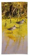 Long Billed Dowitchers Migrating Beach Towel