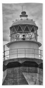 Long Point Lighthouse - Black And White Beach Towel
