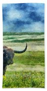 Longhorn Prarie Beach Towel by Jeff Kolker