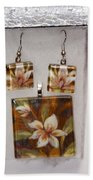 Lotus Flower Pendant And Earring Set Beach Towel