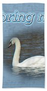 Love - I Love You Greeting Card - Mute Swan Beach Towel