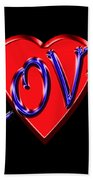 Love In Blue And Red Beach Towel