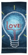 Love Word In Light Bulb Beach Towel