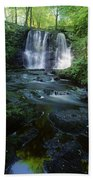 Low Angle View Of A Waterfall Beach Towel