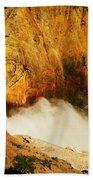 Lower Falls Yellowstone River Beach Towel