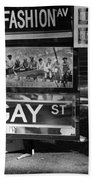 Lunch Time Between Fashion Ave And Gay St In Black And White Beach Towel by Rob Hans