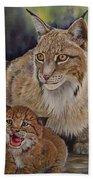 Lynx Mom And Baby Beach Towel