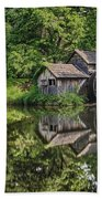 Mabry Mill And Pond With Reflection Beach Towel