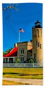 Mackinac Point Light Beach Towel
