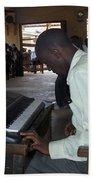 Madona Playing Piano In Nigerian Church Beach Towel