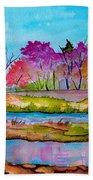 Magenta Woods Beach Towel