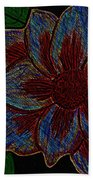 Magnolia Abstract Sketch Beach Towel