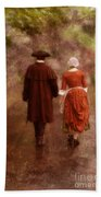 Man And Woman In 18th Century Clothing Walking Beach Towel