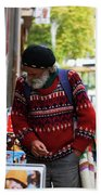 Man In A Red Sweater Beach Towel