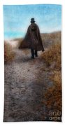 Man In Cape And Top Hat By The Sea Beach Towel