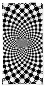 Mandala Figure Number 9 With Black And White Circles Beach Towel