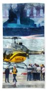 Manhattan Heliport Beach Towel