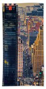 Manhattan Streets From Above Beach Towel