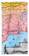 Map Of New Netherland, 1650s Beach Towel