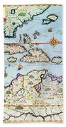 Map Of The Caribbean Islands And The American State Of Florida Beach Towel