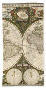 Map Of The World, 1660 Beach Towel