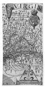 Map Of Virginia, 1624 Beach Towel
