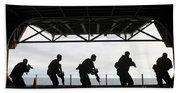Marines Conduct Rifle Movement Drills Beach Towel