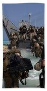 Marines Disembark A Landing Craft Beach Towel