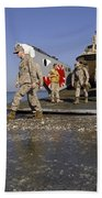 Marines Disembark From A Landing Craft Beach Towel