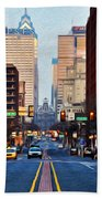 Market Street In The Morning Beach Towel