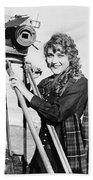 Mary Pickford (1893-1979). Born Gladys Mary Smith. American Actress, With A Movie Camera On A Beach, C1916 Beach Towel