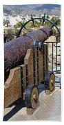 Medieval Cannon At The Balcon De Europa Beach Towel