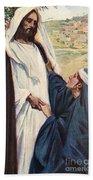 Meeting Of Jesus And Martha Beach Towel