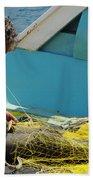 Mending His Nets Beach Towel