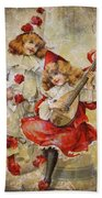 Merry Making Antique Girls In Red And White Grunge Beach Towel