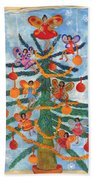 Merry Xmas Tree Fairies Beach Towel