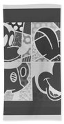 Mickey In Negative Black And White Beach Towel