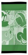 Mickey In Negative Olive Green Beach Towel