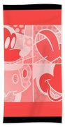 Mickey In Negative Red Beach Towel