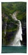 Milford Sound Waterfall Beach Towel