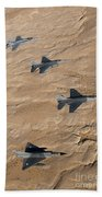 Military Fighter Jets Fly In Formation Beach Towel