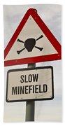 Minefield Road Sign Falkland Islands Beach Towel