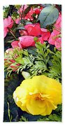 Mixed Ranunculus In A Basket Beach Towel