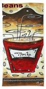 Mocha Beans Original Painting Madart Beach Towel by Megan Duncanson